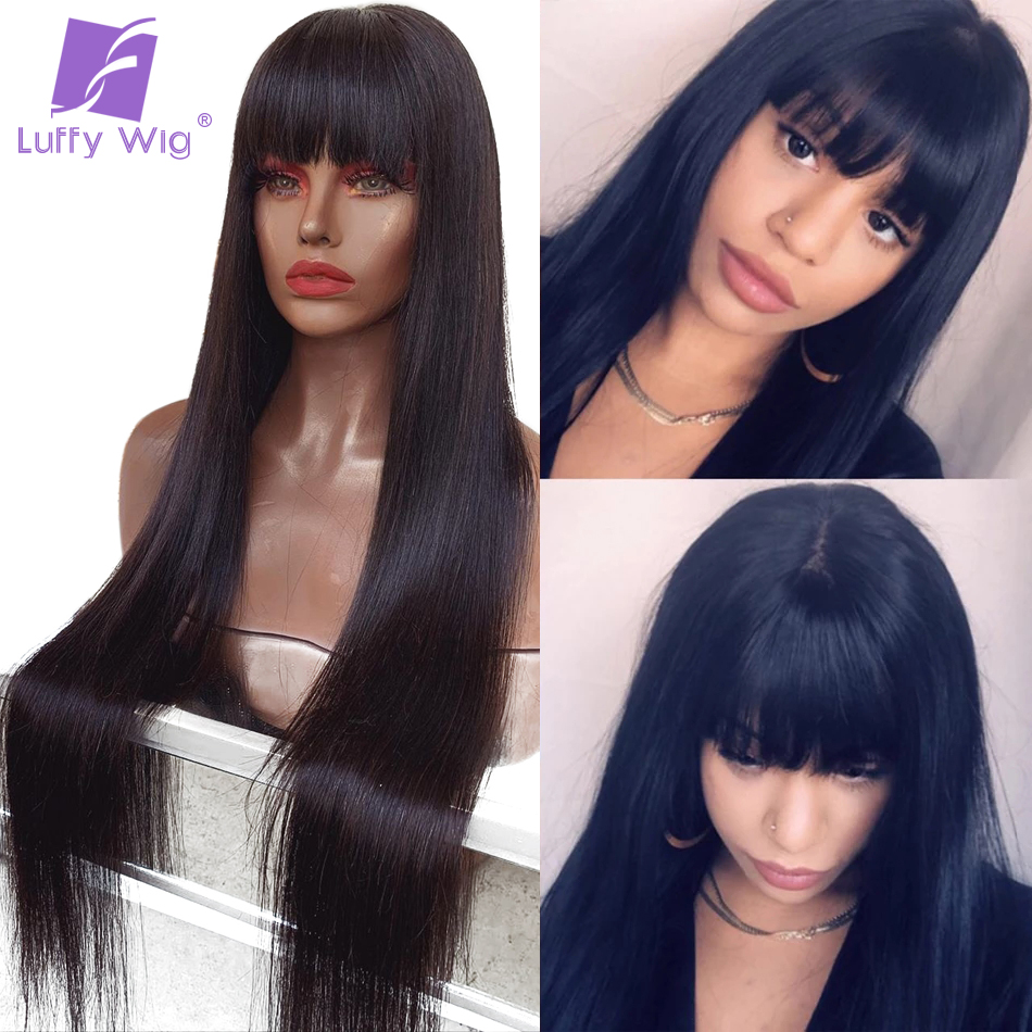 200 Density Brazilian Straight Lace Front Wig With Bangs For Women 13x6 Fake Scalp Human Hair Wigs Bleached Knots Remy LUFFY