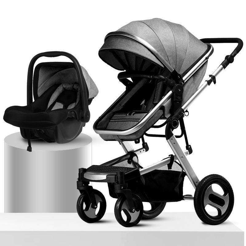 Baby Stroller 3in1 Can Sit on A Four-wheel Shock-absorbing Folding Two-way High landscape Baby Car