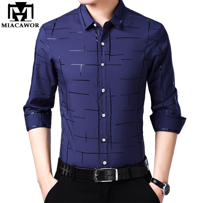 MIACAWOR New 2020 Spring Long Sleeve Casual Shirts Men Slim Fit Camisa Masculina Fashion Print Dress Shirt Plus Size C572