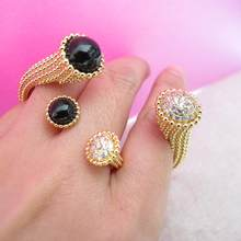 Big shining Zircon stone black stone round head cuff bangle bracelet female bijoux rings Banquet party jewellery sets for women(China)