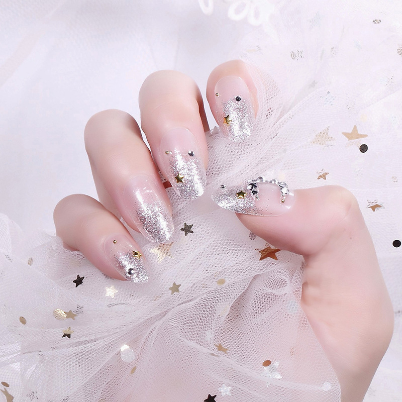 Mid-length Silver Shimmering Powder Moon And Stars Fake Nails Patch Beauty Jia Jia Stickers Bride Gum Wearable Fake Nails 243