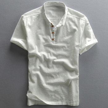 Real Picture Linen Shirts For Men Vintage Chinese Style Casual Summer Men's Shirt Short Sleeve Plus Size XXXXL Men Clothes A736