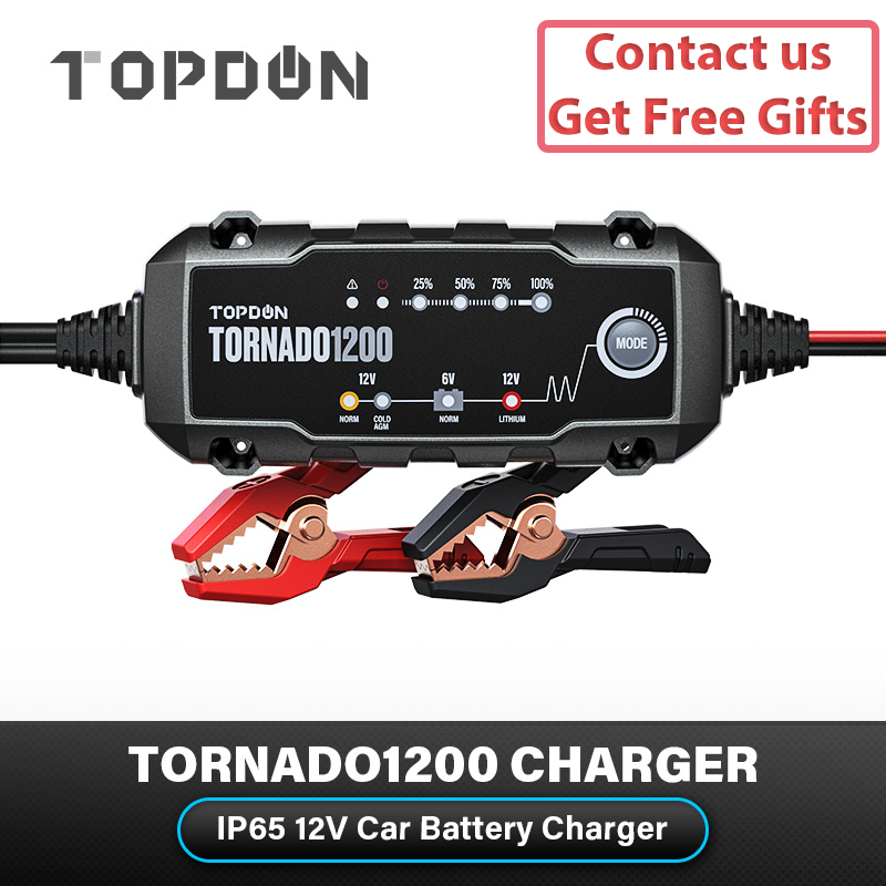 Topdon T1200 Car Battery Charger Tornado1200 80AH 6V 12V Automatic Lead Acid Lithium Charger IP65 Smart Battery Charger For Car