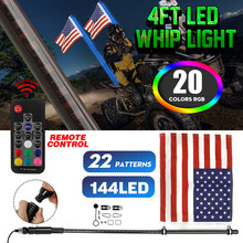 3/4FT LED Whip Light RGB Muti Color Waterproof Bendable Wireless Remote Control Flagpole Lamp Light DC12V+America Flag with Base