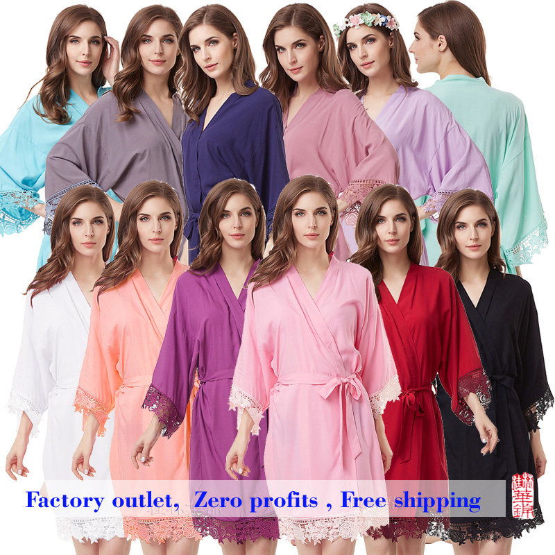 Cotton Robe  Lace Robe Bride Robe Kimono Bridesmaid Robes Bridal Party Robe  Women Pajamas Sleepwear A300A
