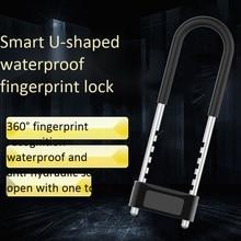 U Lock Fingerprint Lock Mechanical Key Waterproof Anti-Theft Bicycle Lock Motorcycle Lock for Office Glass Door Lock