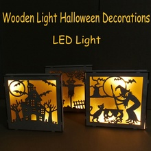 Wooden Halloween Square Laser Hollow-out LED Lamp Decorative Hanging for room decoration