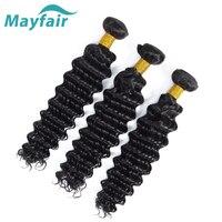 Mayfair волосы глубокая волна перуанские накладные волосы пучки натуральный цвет не Реми человеческие волосы ткачество 8-28 дюймов 3/4 шт Бесплат...