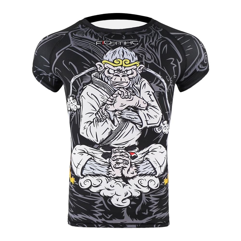 Mma Men Monkey Breathable Fighting Tiger Muay Thai Jersey Kick Boxing Sweatshirt Jiu Jitsu Rashguard Compression Tight Shirt Mma Discounts Sale