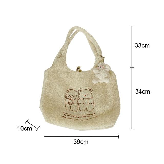 Hylhexyr Women Soft Plush Tote Simple Warm Cloth Shopper Bags Embroidery Bear Handbag  Eco Shoulder Bag Purses For Girls 2