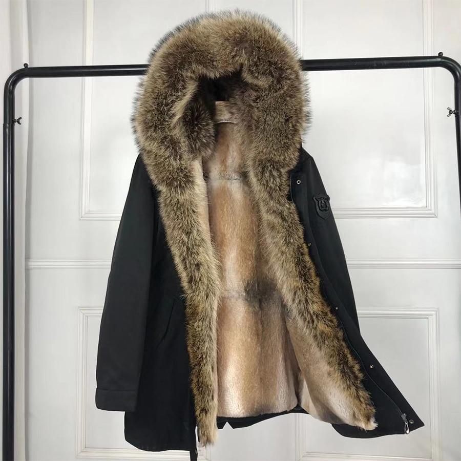 2019 nouveaux vêtements d'hiver pour hommes véritable col de fourrure de renard fourrure de lapin doublé parka à capuche