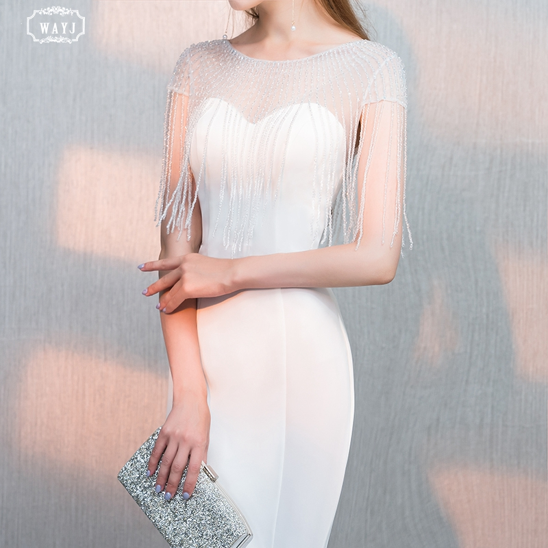 New Mermaid Evening Dress Long White Short Sleeve Hand Beading Elegant Fashion Queen Sexy Party Gown High Quality Custom WAYJ
