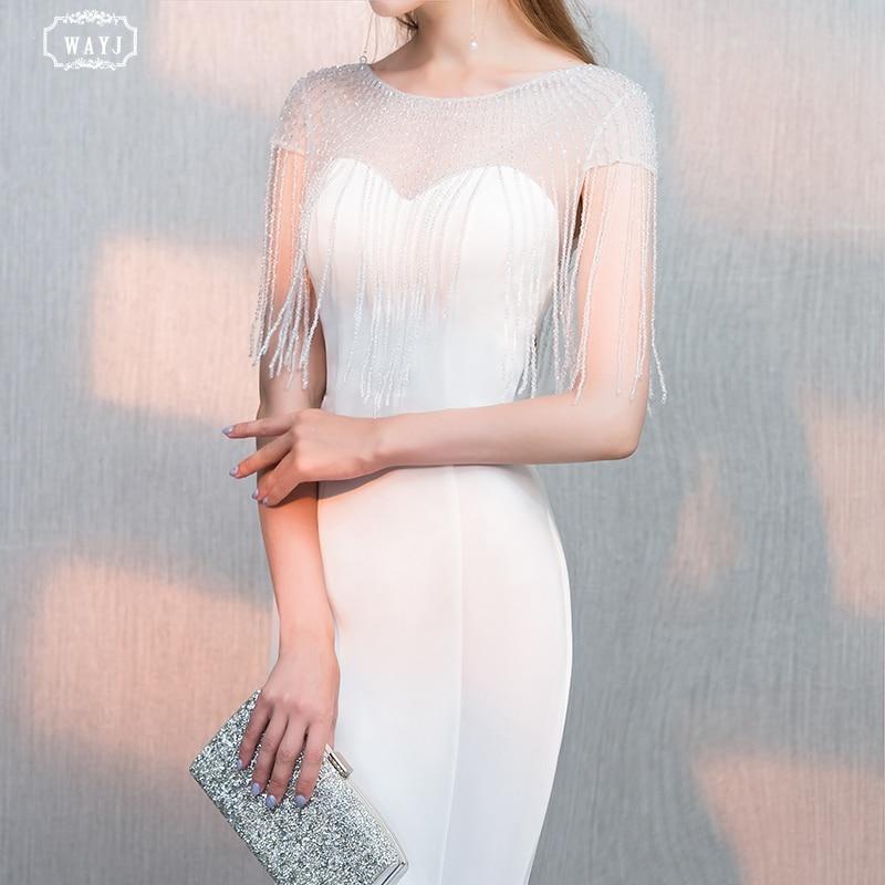 Nouvelle sirène robe de soirée longue blanc à manches courtes main perles élégant mode reine Sexy robe de soirée de haute qualité personnalisé WAYJ