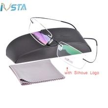 IVSTA Silh shile Logo with box Screwless Titanium Glasses Men Frame Myopia Rimless Optical Women Prescription Pink Silver