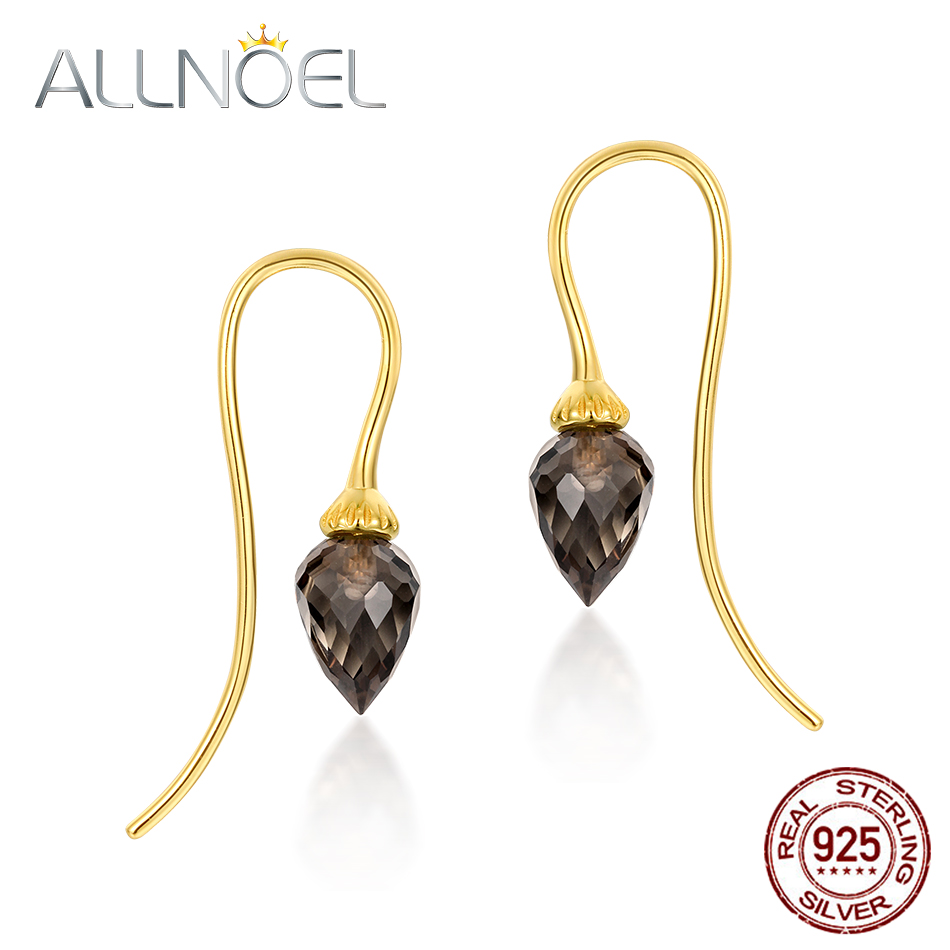 ALLNOEL 925 Sterling Silver Drop Earrings For Women 100% Natural Smoky Quartz Gemstone Gold Wedding Luxury Jewllery Wholesale