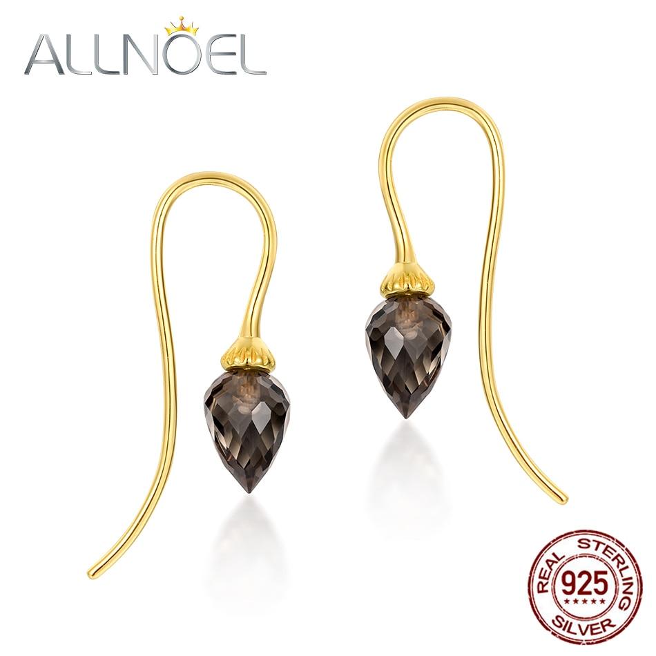 ALLNOEL 925 Sterling Silver Drop Earrings For Women 100% Natural Smoky Quartz Gemstone Gold Wedding Luxury Jewllery Wholesale