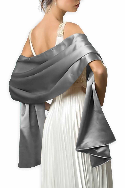 แฟชั่นสตรีซาตินงานแต่งงานเจ้าสาวผ้าคลุมไหล่ฤดูหนาวห่อพรหม Shrug Bolero Cape เสื้อแจ็คเก็ต No15953