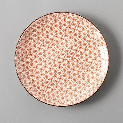 Креативный японский стиль 8 керамическая тарелка дюймовая посуда для завтрака говядины десертное блюдо для закусок простое мелкое блюдо домашнее блюдо для стейков - Цвет: 11