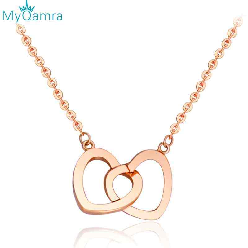 MYQAMRA 18k Gold Necklace Pendant For Women Heart-to-heart Romantic Couple In Love Valentine's Day Present Man