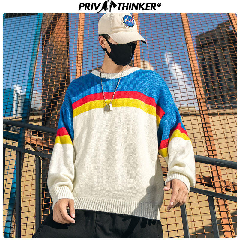 Privathinker Mens Japan Knitted Casual Sweaters Men 2019 Colorful Pullovers Tops Clothes Male Autumn Warm O-Neck Hip Hop Sweater
