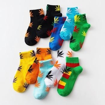 2020 New Arrival Women Socks Print Maple leaf Ankle Funny Socks Meias Unisex Chaussette Femme Cotton Novelty Chaussette Sokken