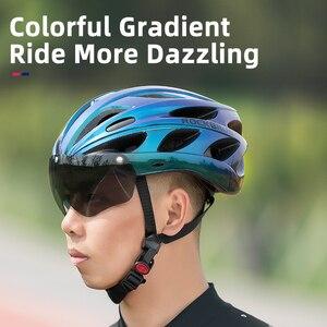 Image 2 - ROCKBROS casco de bicicleta para hombre y mujer, moldeado integralmente, transpirable, gafas, lentes Aero, MTB, Casco de Bicicleta de carretera