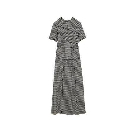 Neploe Chic Wooden Ear Patchwork Pleated Women Dress 2021 Spring Summer Drawstring Vestidos New High Waist Plaid Dresses 1H970 4