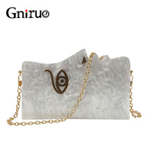 2020 Wood Personality Splicing White Acrylic Retro Unique Half Face Hard Box Evening Bag Ridesmaid Handbag Luxury Clutch Purses
