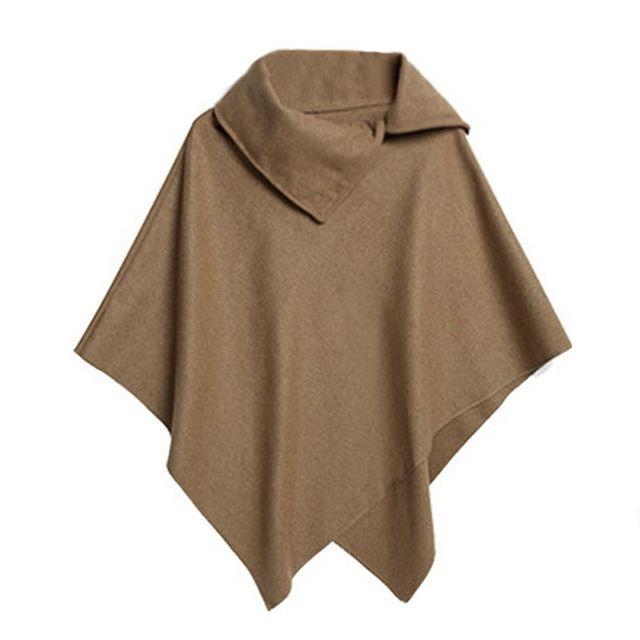 4 Colors Women Coat Poncho Autumn Winter Casual Overcoat Zipper Loose Pullover Cloak Sweater Cape Outwear hc 2