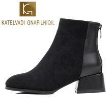 KATELVADI NEW Arrival Women Chelse Boots Autumn Winter Classic Zipper Snow Ankle Flock Warm Plush Shoes K-526