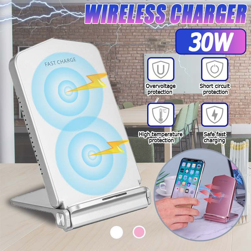 Foldable 30W Wireless Charger Stand for iPhone X XR XS Max 8 Fast Wirless Charging for Samsung Huawei Phone Wireless Charger
