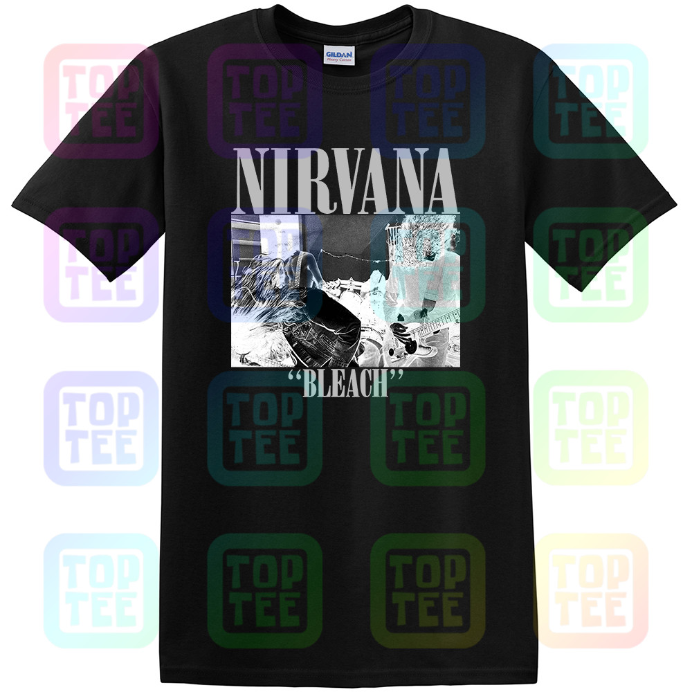 Official Nirvana T Shirt Bleach Grunge Rock New Kurt Cobain Black Large Streetwear Size S-3Xl