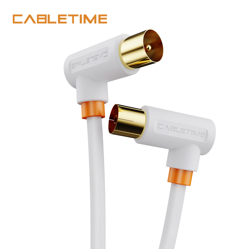 CABLETIME 90degree TV Cable High-definition Gold-plated Coaxial Line M/F Satellite Antenna Cable For HD Television N361