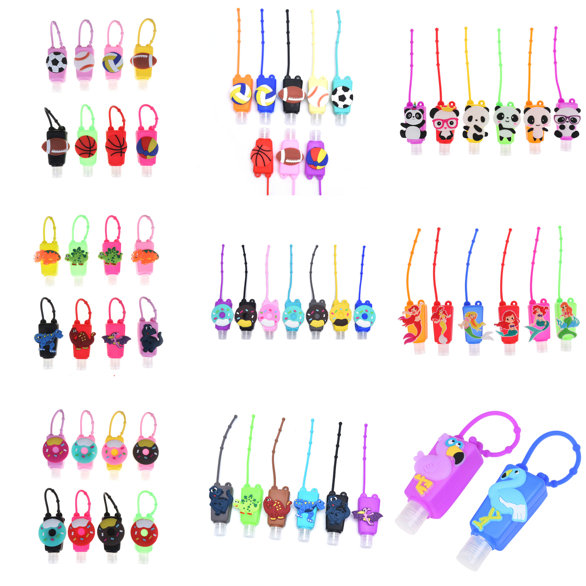 Cartoon Silicone Mini Hand Sanitizer Disposable No Clean Detachable Cover Travel Portable Safe Gel Holder Antibacterial Hand Gel