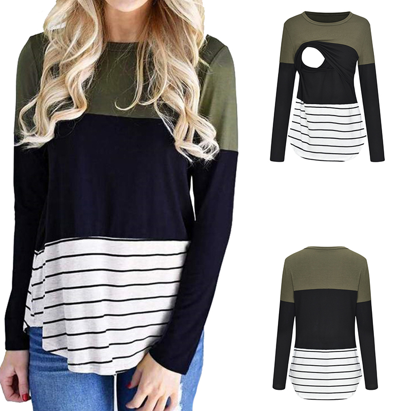 ENXI Three-colour Patchwork Maternity Clothes Nursing Top Long Sleeves Breastfeeding Clothes Embarazada Fashion Tshirt Women