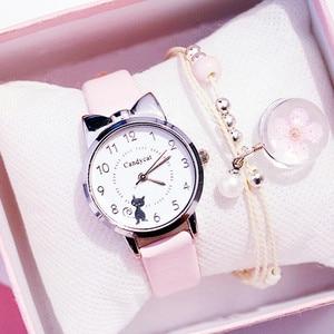 Kids Watches Students Children Pink Watch Girls sale Leather Child Hours Black Cat Quartz Wristwatch Girl Gift Clocks reloj