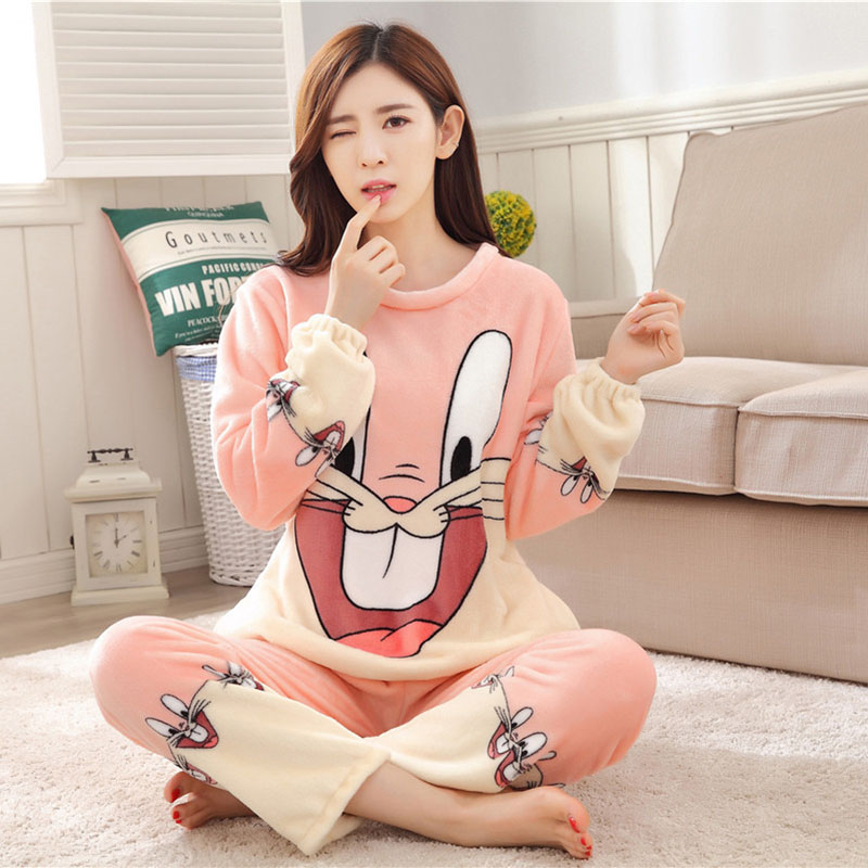 Women Pajamas Set For Autumn cute cartoon pink Women Clothes Sleepwear Nightgown For Women Long Sleeve And Pants Hot Sale pijama 51