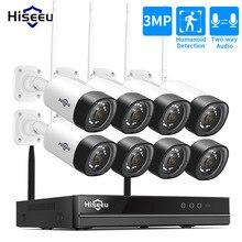 Hiseeu sistema de cámara IP para exteriores sistema de seguridad CCTV de Audio inalámbrico de 3MP y 8 canales, NVR, Kit de 2MP, 1080P, 1T, 3T, HDD, App