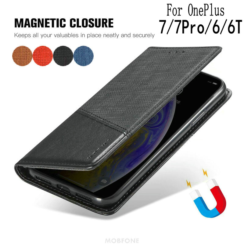 Retro Flip Magnetic <font><b>Leather</b></font> Case For OnePlus <font><b>One</b></font> <font><b>Plus</b></font> 7 Pro 6 <font><b>6T</b></font> 7 Phone Fundas Coque Wallet Book Stand OnePlus 7 Capa <font><b>Cover</b></font> Bag image