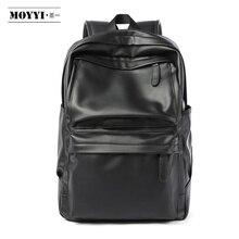 Moyyi puレザーバックパック男性トラベルバッグ防水シンプルな風スクールバッグ十代のカジュアルファッションパック盗難防止bagpack