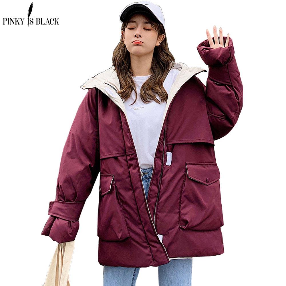 PinkyIsBlack 2019, Длинные парки, зимняя куртка для женщин, с капюшоном, ветрозащитная, военная одежда для женщин, с большим карманом, утолщенное зимнее пальто для женщин