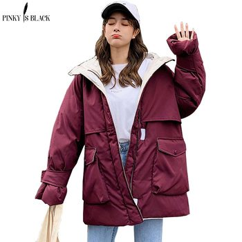 PinkyIsBlack 2020 Long Parkas Winter Jacket Women Hooded Windproof Military Clothing Female Big Pocket Thicken Winter Coat Women drawstring waist letters embroidered multi pocket hooded long sleeves thicken coat for men