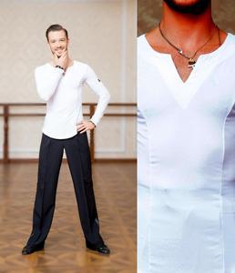 Image 3 - SuperStar Serie: G5008 latin modern ballroom dance professionelle elastische kristall baumwolle tops shirt für männer