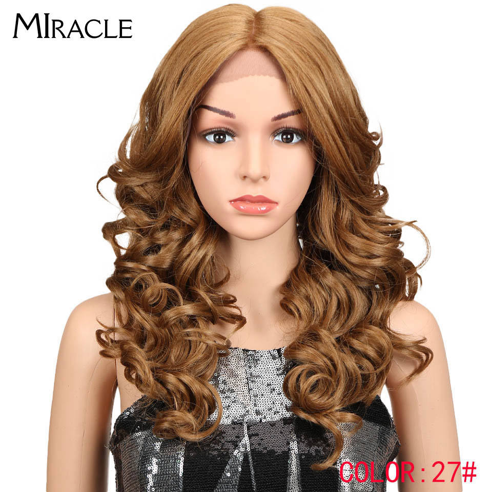 Miracle Hair 20Inch Ombre Brown Hair Synthetic Lace Front Wigs Loose Wavy Hair Heat Hesistant Long