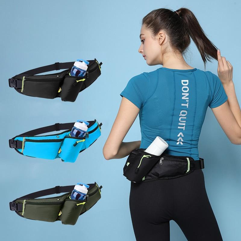Women Men Marathon Running Waist Bag Hydration Belt Reflective Sport Bag Waterproof Jogging Gym Waist Pack Without Water Bottle