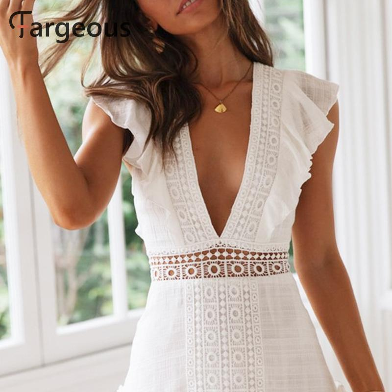 Fargeous Women Elegant White Embroidery Short Dress 2019 Summer Sexy V Backless Lace Up Dress Female High Waist Party Vestidos