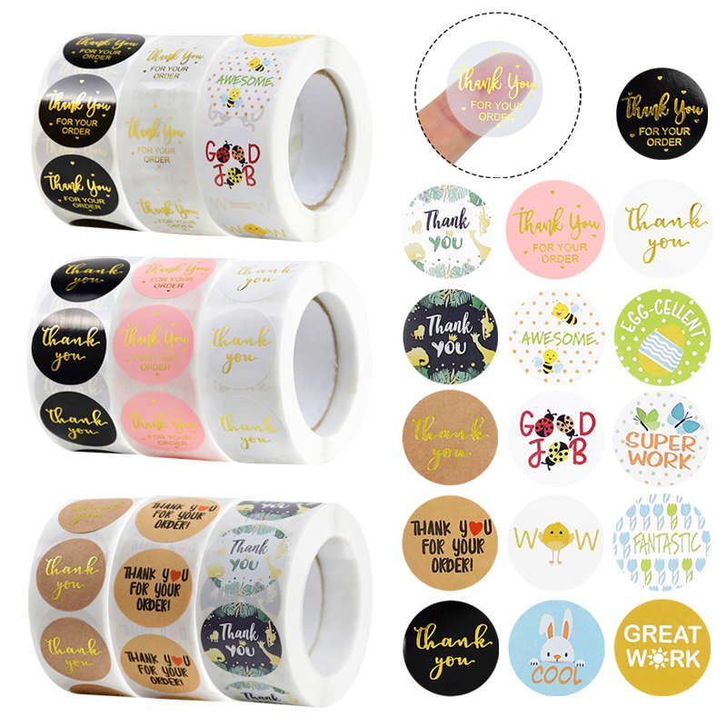 500pcs/roll Thank You Stickers Seal Labels for Envelope Cards Gift Packaging Supplies Scrapbooking Sticker Easter Safari Party