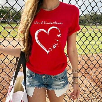 Camiseta de manga corta para mujer, S-3XL, con estampado bonito, para el Día de San Valentín, verano 2020