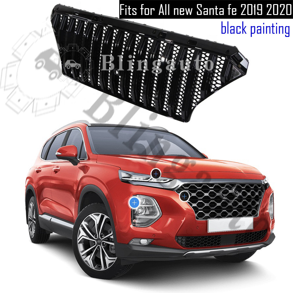 Front Grille Radiator Grille Fits For H Yundai All New Santafe Tm 2019 2020 Santa Fe Black Abs Grille Gloosy Silver Buy At The Price Of 299 00 In Aliexpress Com Imall Com