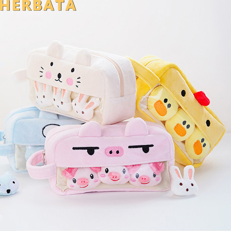 Pink Plush Kawaii Pencil Case Cute Lovely Pencil Case For Girls Student Pencil Bag Stationery Pencilcase Pen Bag School Supplies